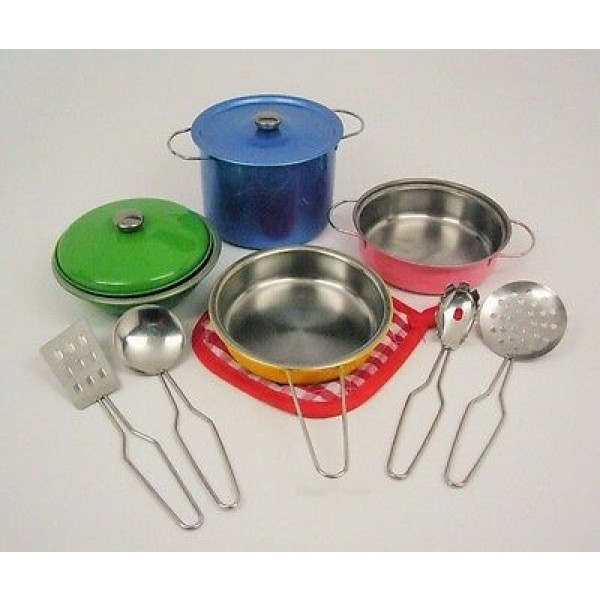Childrens Toy Metal Kitchen Cooking Utensils Pots Pans Accessories Set Kids Play All Kinda Things