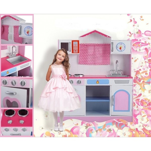Play Kitchens For Girls: Large Girls Kids Pink Wooden Play Kitchen Children's Role
