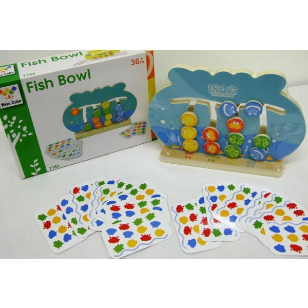 Children Wooden Fish Bowl Game With 2 Games In 1