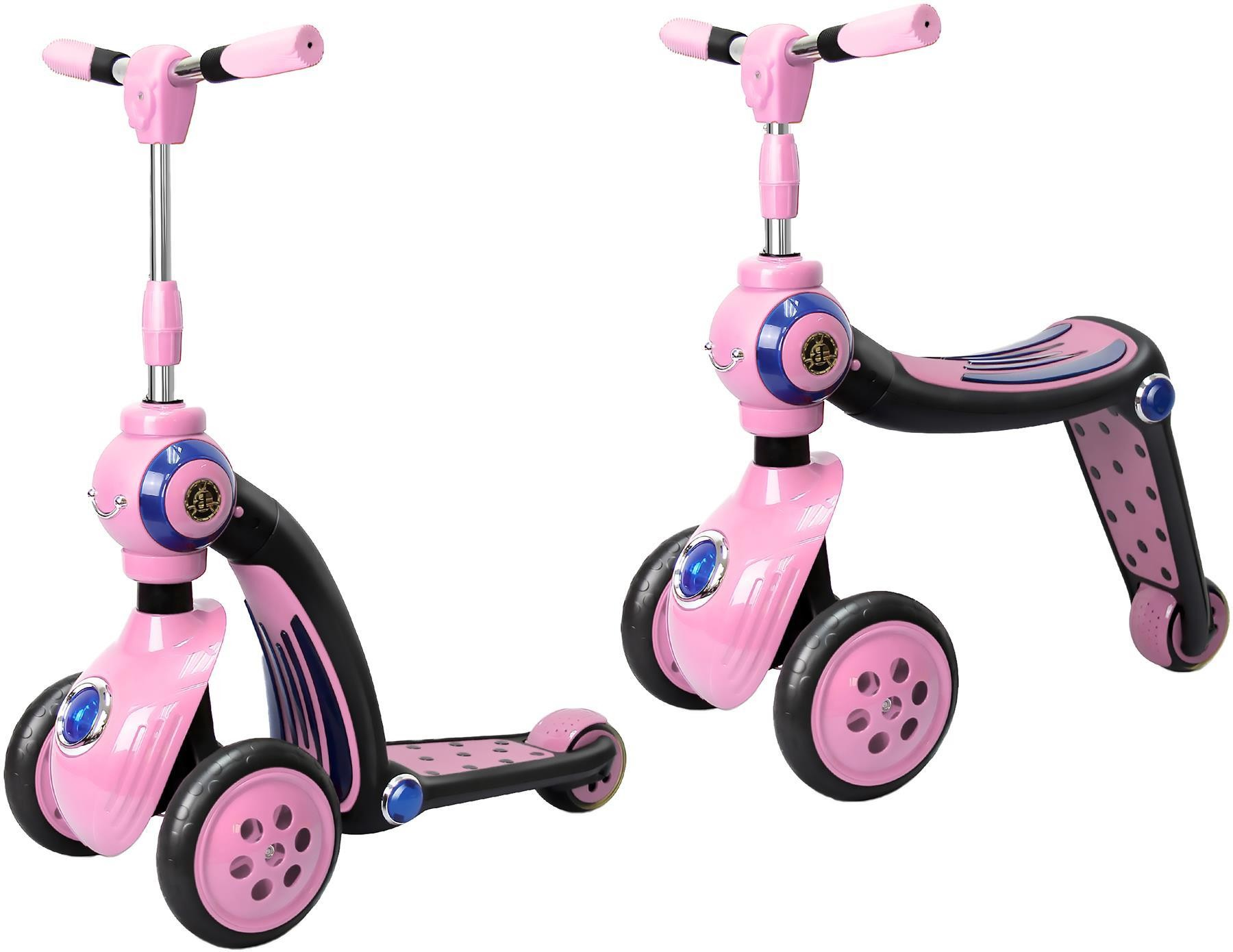 2-in-1 Switch Scooter, Transforms From Trike To A Scooter, Ride-on,Pink