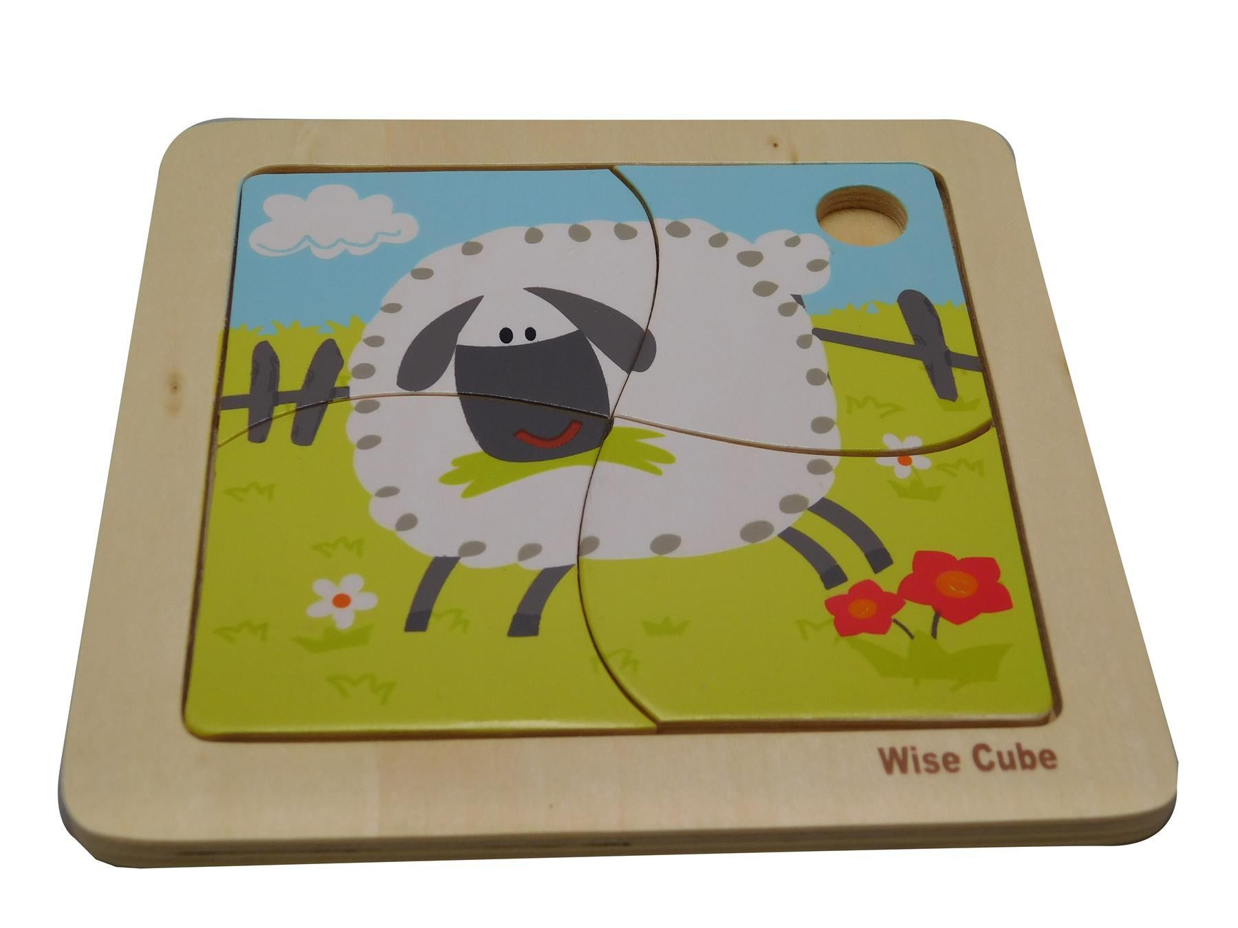 Children's Wooden 4 Pieces Wise Cube Shape Sorter Sheep Creative Jigsaw Puzzle