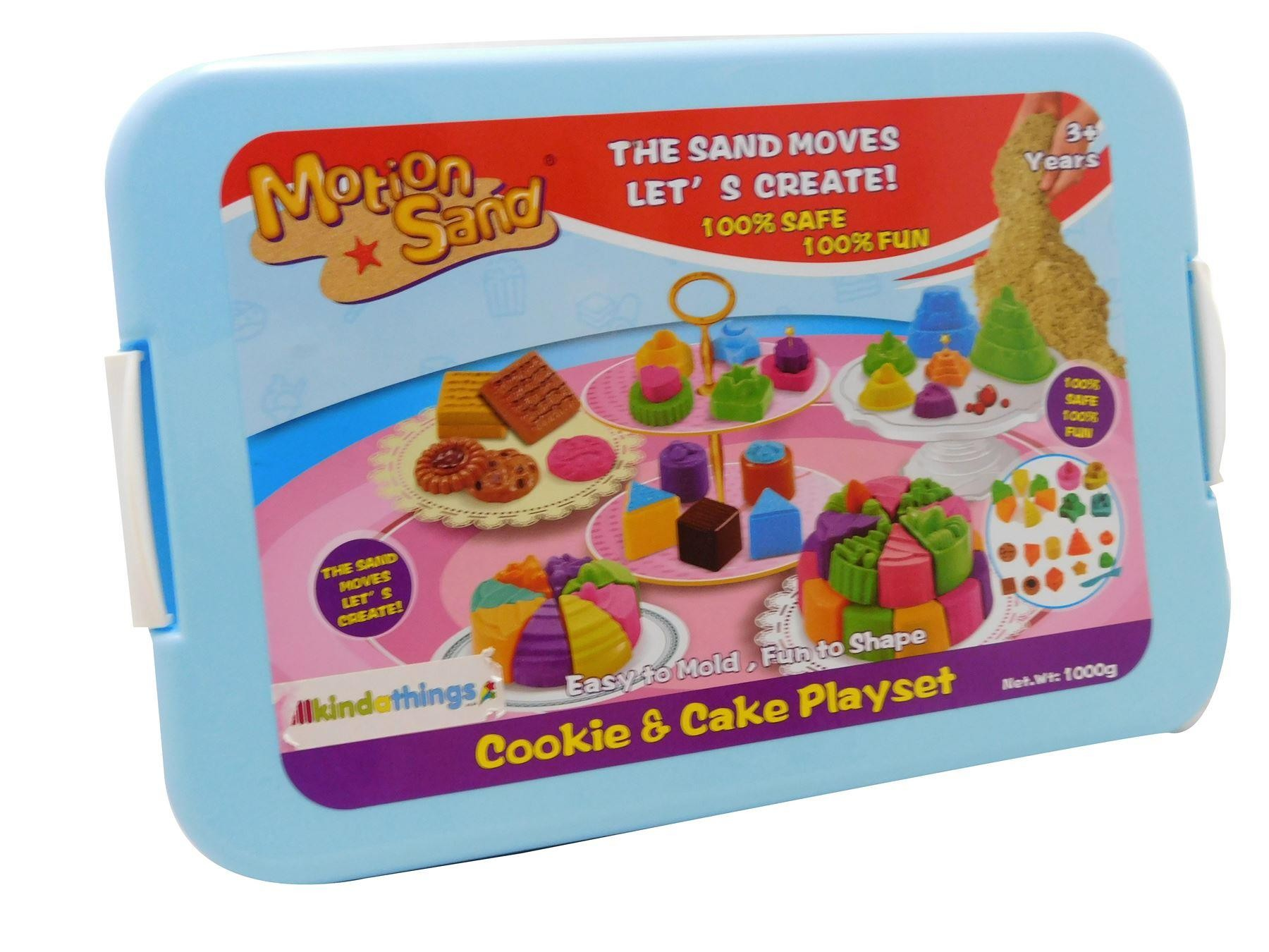 Motion Sand, 1 kg Deluxe Bucket Kinetic Play Sand,Cookie and Cake Set