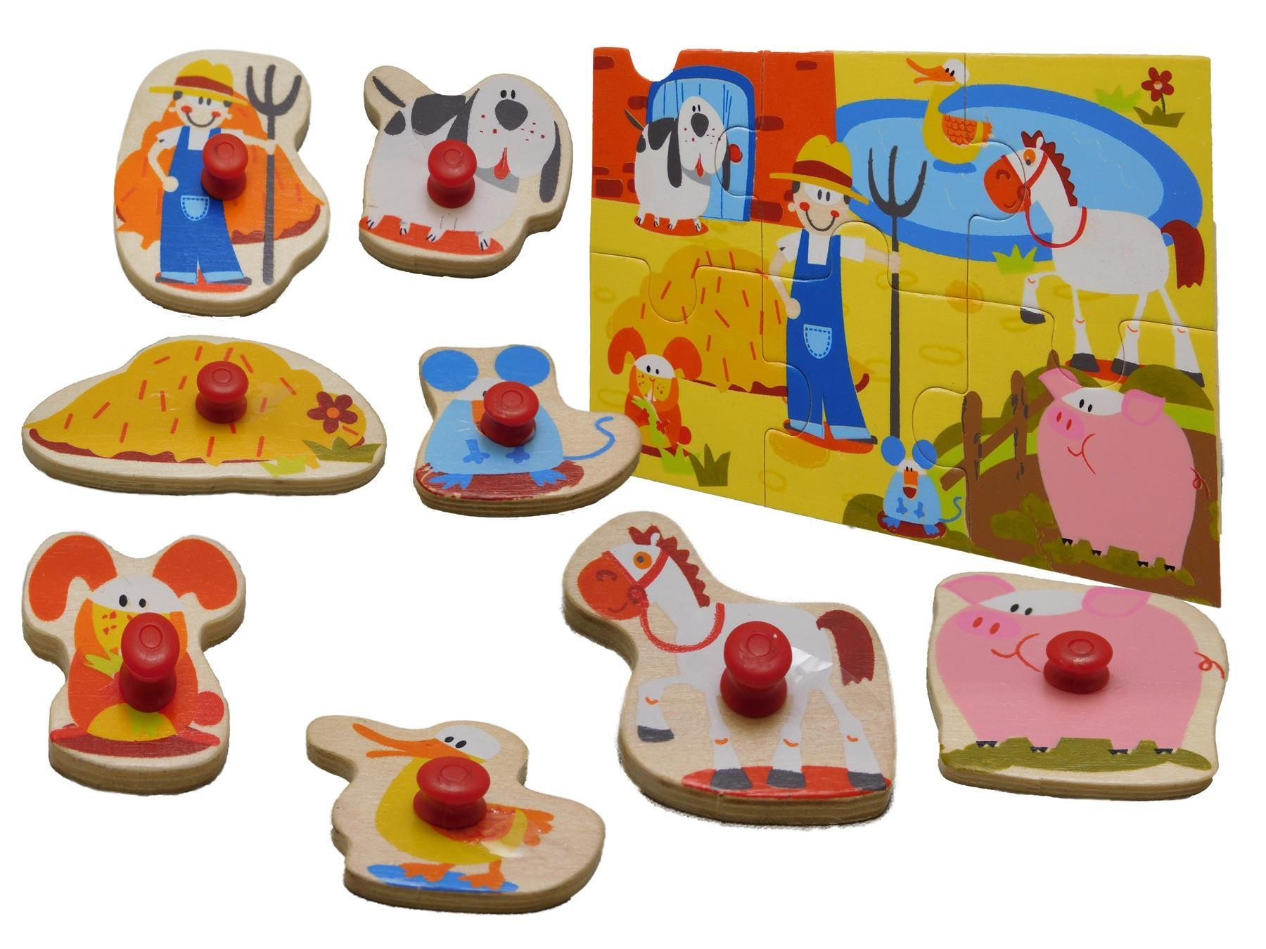 Children Wooden 2 in 1 Farm Theme Peg Jigsaw Puzzle And Shape Sorter Pegs Kids