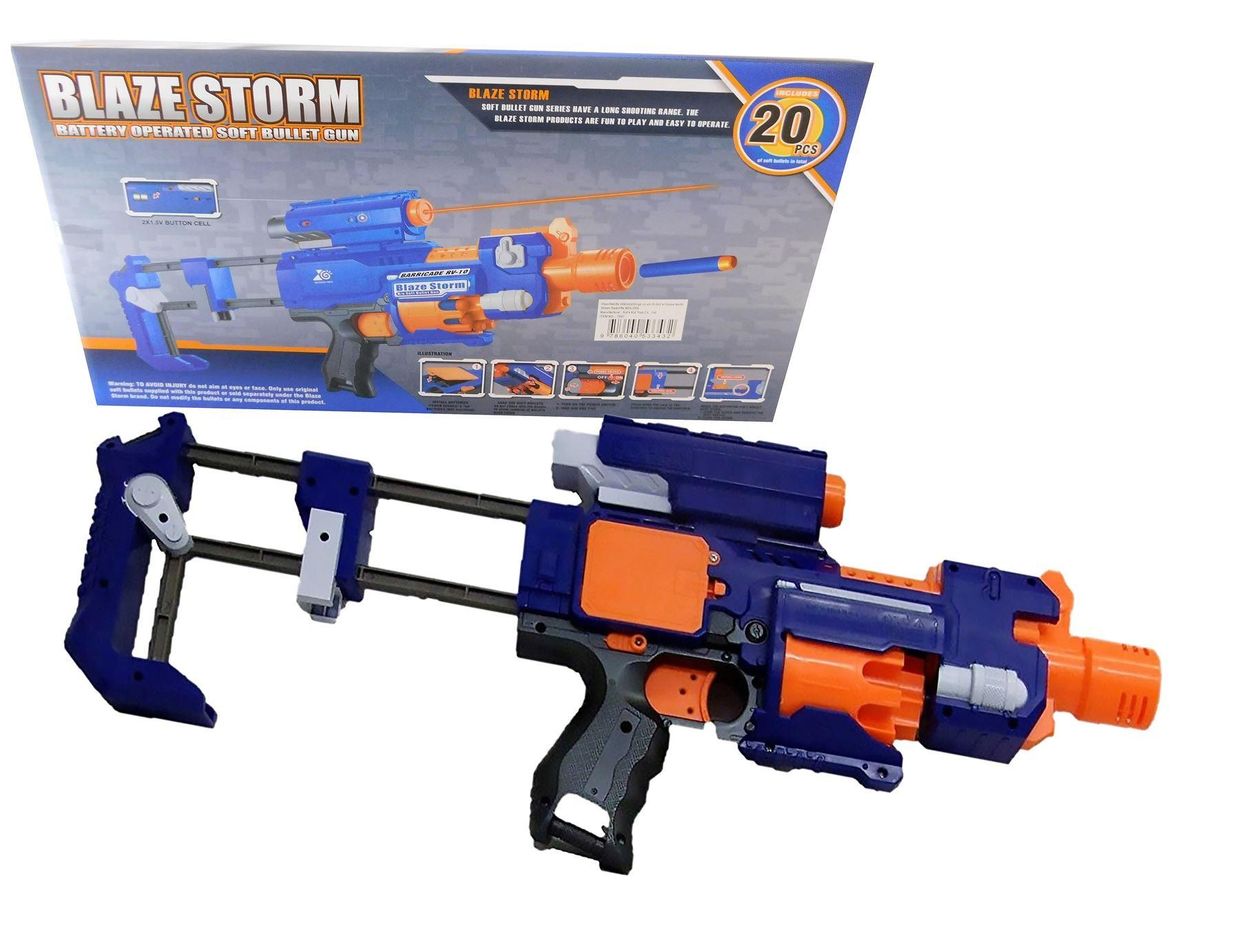 Blaze Storm Semi Auto Battery Operated Nerf Style Gun With 20 x Soft Bullets