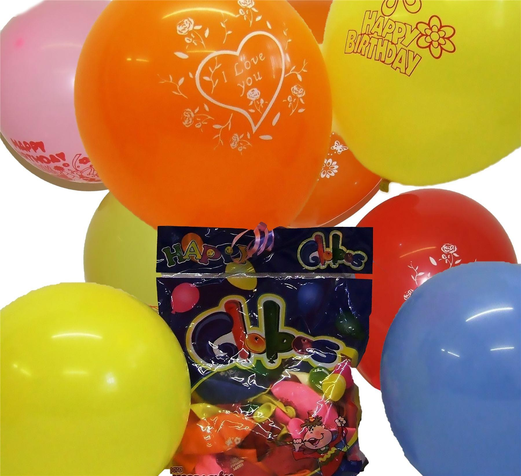 "Quality Latex Helium 50 x 10"" Printed Happy Birthday Balloons"