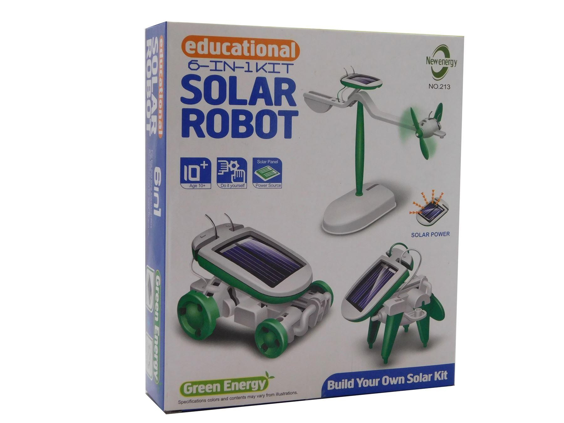 6 In 1 Educational Solar Robot Kit Plane Windmill Air boat Puppy car