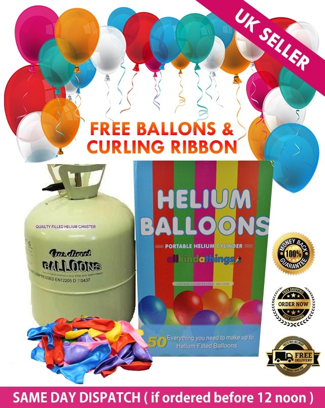 Disposable Helium Balloon Gas Cylinder Canister Fills 50 Balloons Any Occasions