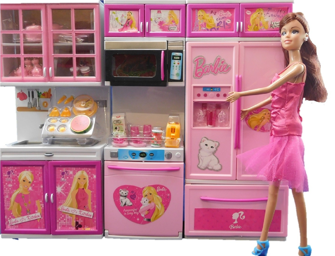 Toy Doll Kitchen Dishwasher Microwave Fridge Kitchen Play Set With Doll
