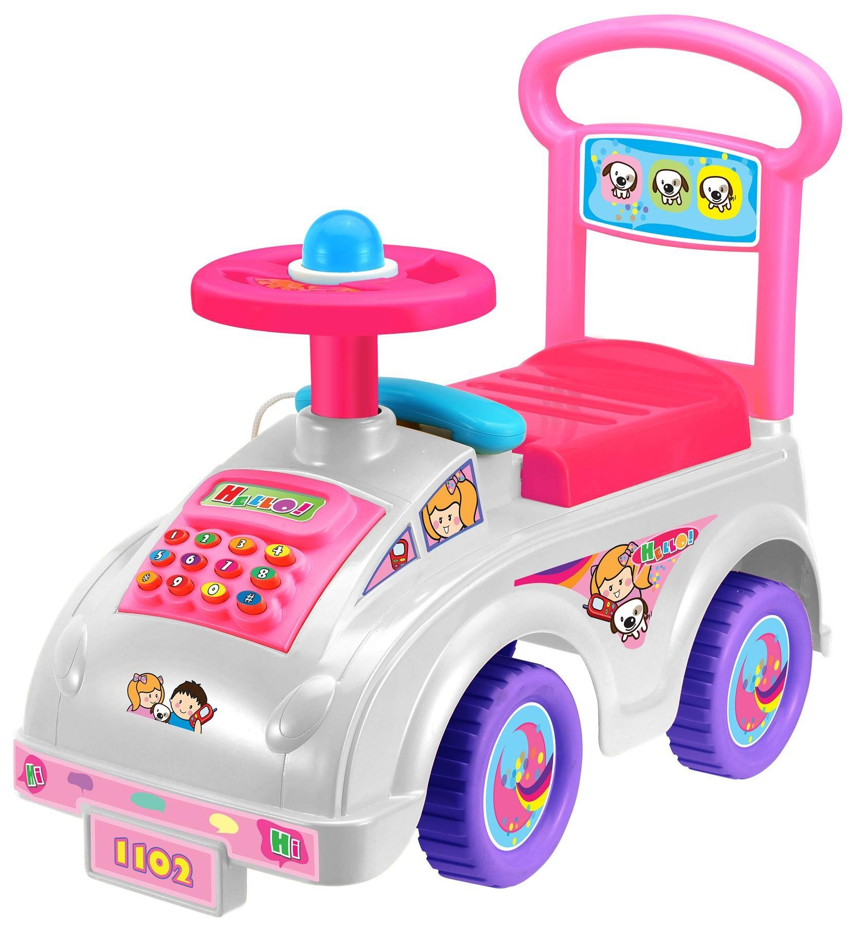 Push Along Smart Ride On Car Walker Toy With Under Seat Storage