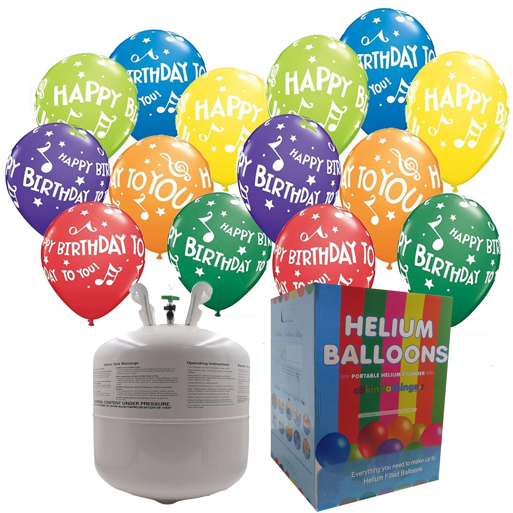 Disposable helium Canister Complete with 25 Birthday balloons And ribbon