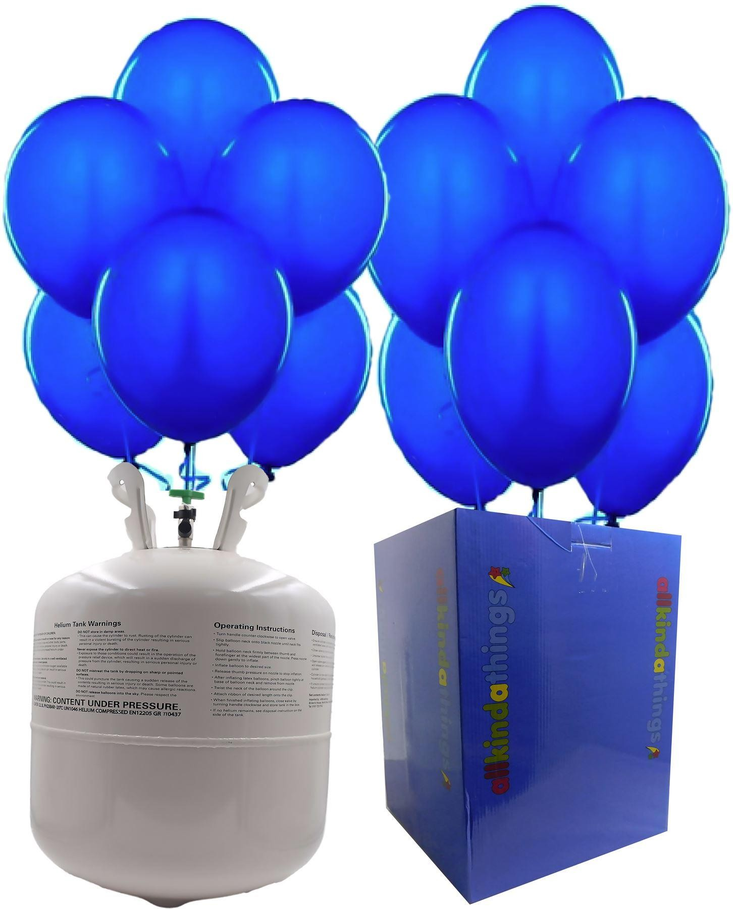 """Disposable Helium Gas Canister Cylinder Balloons with 25 11"""" Navy Blue Balloons"""