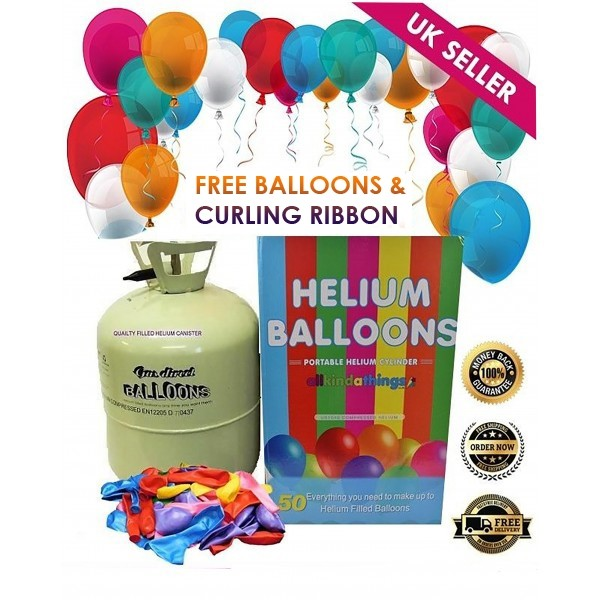 Disposable Helium Gas Canister Cylinder Fills 50 Balloons includes Balloons and Curling Ribbon