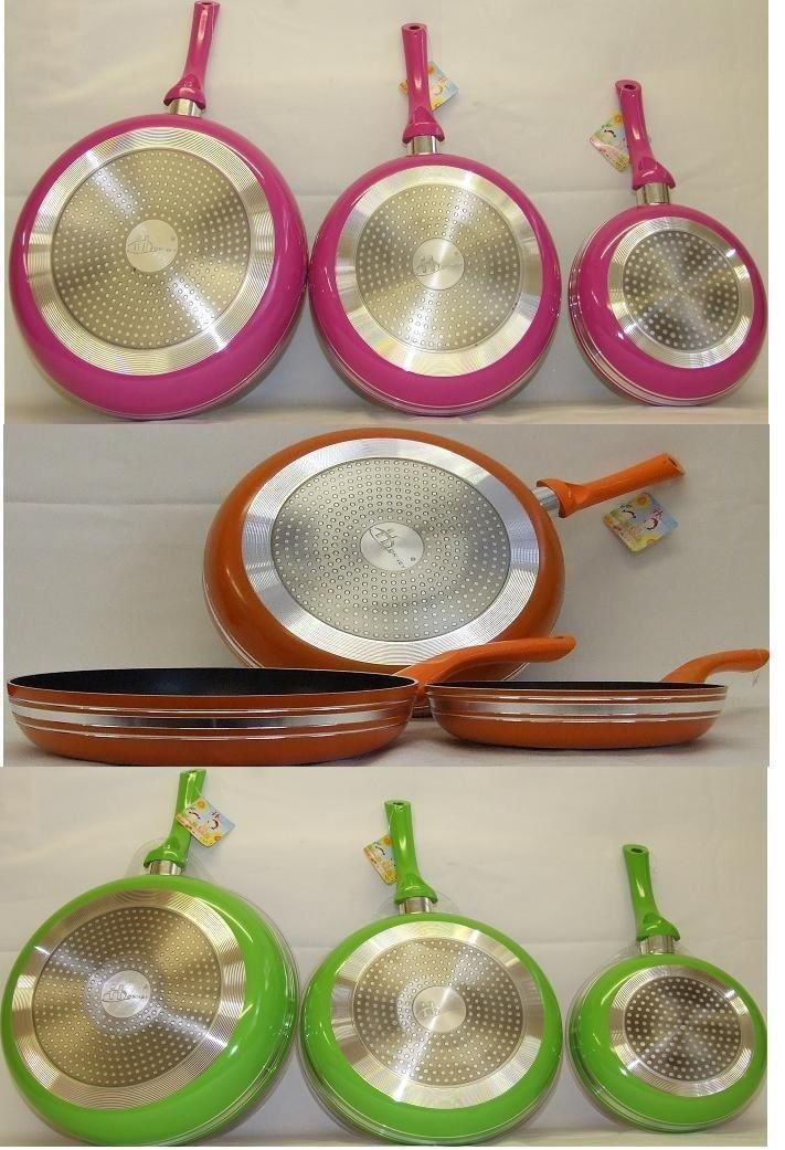 Non-Stick Frying 3 x Pans Made Of High Quality Alumimium Kitchen Set Heavy Gauge - GREEN -