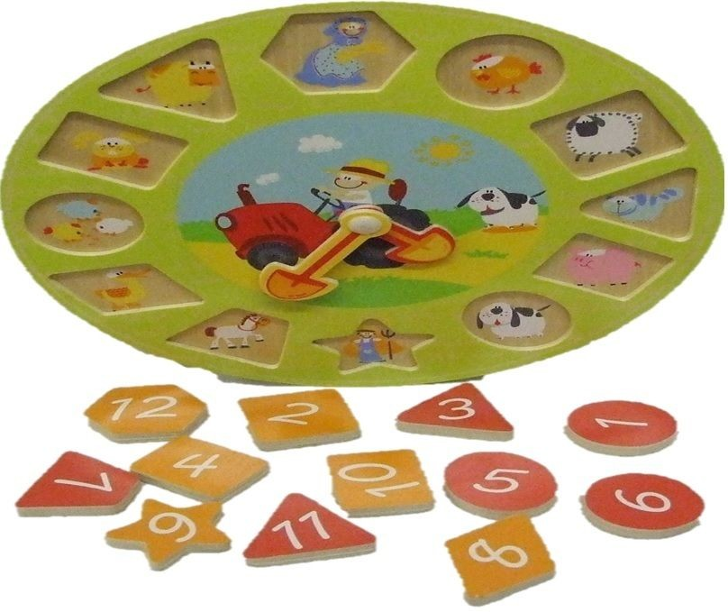 Wooden Teach Time Clock Children Counting Number Puzzle Kids Teaching Wood  Toy