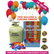 Helium Gas Disposable Cylinder 50 Balloons Canister With Balloons and Ribbon