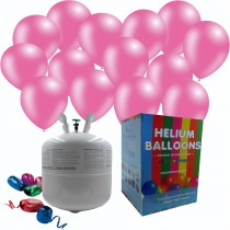 "Helium Gas Disposable Cylinder And 25 11"" Bubblegum Pink Balloons  and Ribbon"