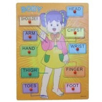 Traditional Body Wooden Peg Girl Puzzle Bright Colors For Learning Aid Tool