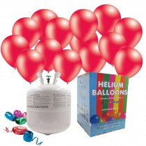 "Disposable Helium Gas Canister Cylinder Balloons with 25 11"" Red Balloons"