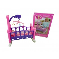 Children Mommy & Baby Pretend Play Rocking Musical Cradle Bed Cot With Bedding