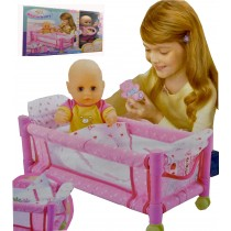 Girls Doll And Crib Bedding And Accessories Comes Complete With Doll and Cot
