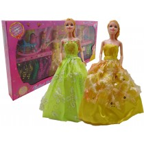 Toy Dolls Set With two 25Cm Dolls And Two 10 cm Mini Toy Dolls With Toys and Dresses