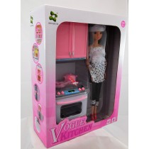 Girls Toy Doll Kitchen Playset With 12 Inch Doll and accessories