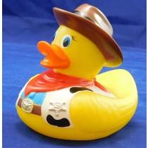Cowboy Bath Rubber Duck With Heat Safety Spot Children's Bath Toy
