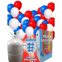 Disposable Helium Gas Canister with Red White and Blue  Balloons