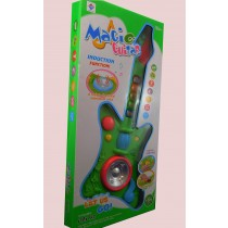 Kids Electric Guitar Musical Toy Gift Sounds Lights 3 Modes Toggle Button Green