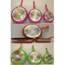 Non-Stick Frying 3 x Pans Made Of High Quality Alumimium Kitchen Set Heavy Gauge - MAGENTA - Clearance - were £ 29.95