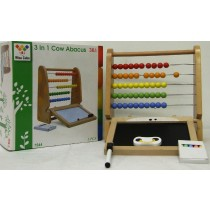 Kids Wooden 3 IN 1 Toy With Abacus Chalkboard Whiteboard With Coloured Chalk