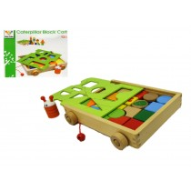 Children Toy Wooden Pull Along Colourful Pre-School Block And Shape Sorter New