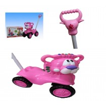 Children Push Along Sit On Ride On Style Car And Parent Handle With Sounds Pink