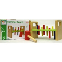 Children Wisecube Classic Wooden Peg Pre-School Kids Colourful Hammer Bench Toy