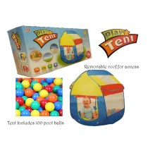 Children Kids Baby Tent Ball Pit Playhouse Pop Up With 100 Balls Pool Balls