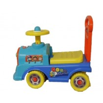 Push Along Ride On Toy Car Children Locomotive Clock Face Theme Blue Yellow Red