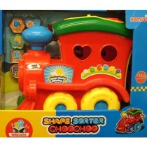 Children Kids Large Shape Sorter Happy Toy Train With Six Shapes To Choose Red