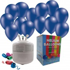 """Disposable Helium Gas Canister Cylinder Balloons with 25 11"""" Blue  Balloons"""