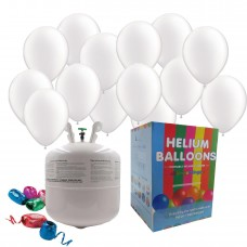 """Disposable Helium Gas Canister Cylinder Balloons with 25 11"""" White Balloons"""