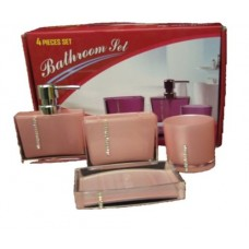 Bathroom Set of Plastic Soap Dispenser Dish Tumbler And Toothbrush Holder Pink