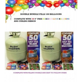 Disposable Helium Gas Double Pack  For All Occasions Fills Up To 100 Balloons